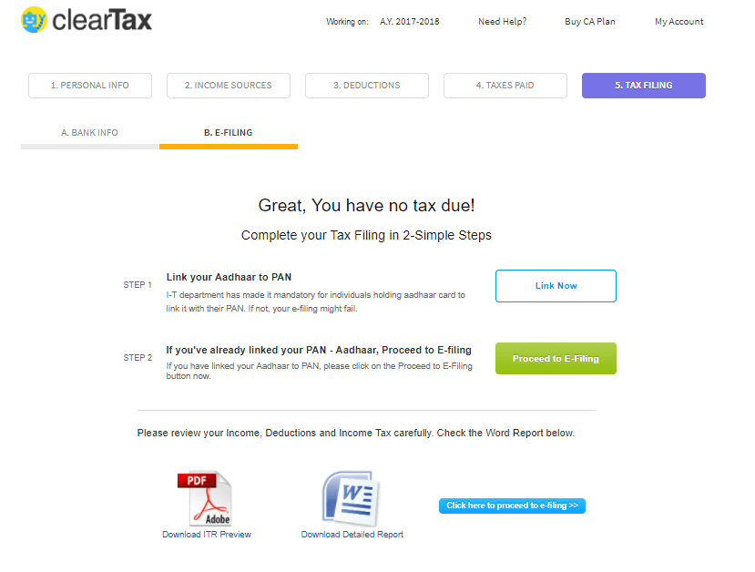 Income Tax efiling in India: ClearTax