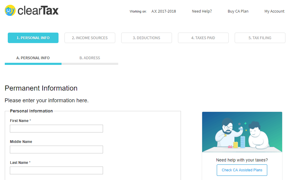 ClearTax - Enter your personal Information