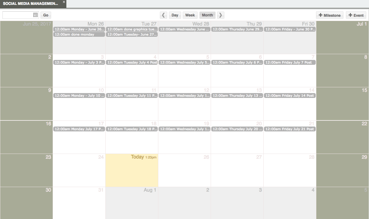 Dead Drop Software Screen Shot - Social Media Management Calendar