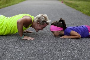 Mom exercise with child