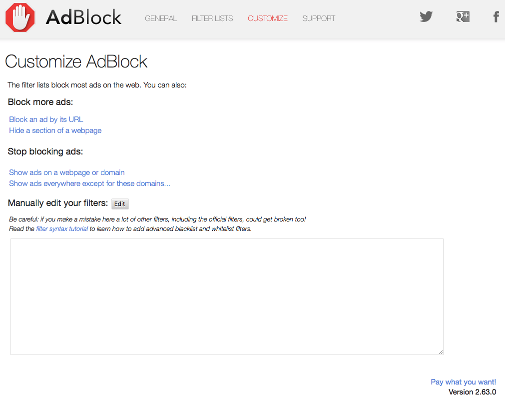 Ad Blockers Safari Extension Adblock for Mac customize screen image