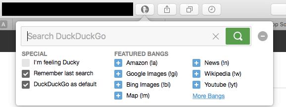 DuckDuckGo Search Engine Safari Extensions