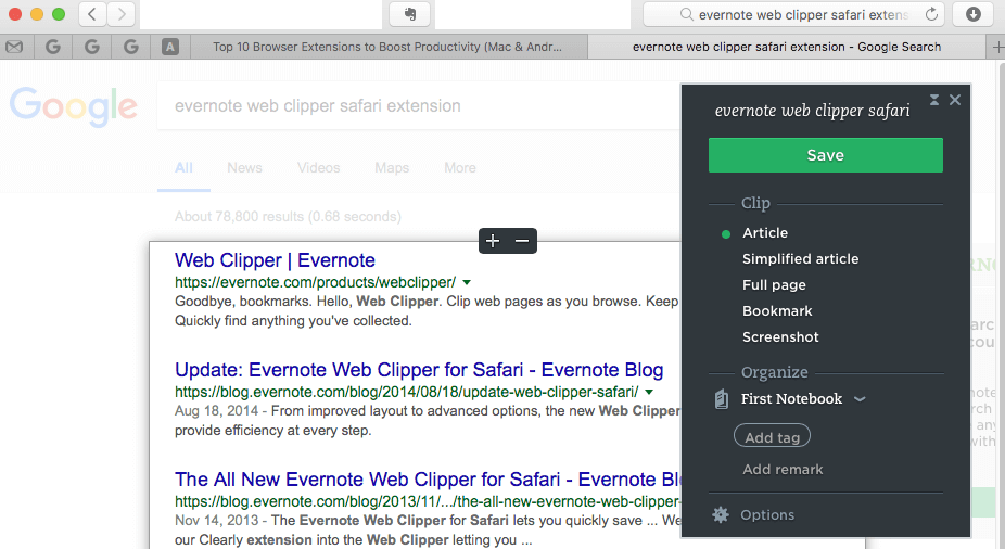 Evernote Web Clipper Safari Extension