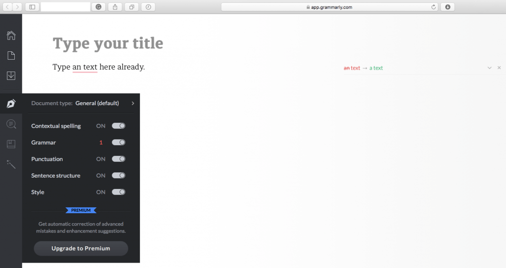 Grammarly Safari Browser Extension Corrects Grammar and Punctuation Errors