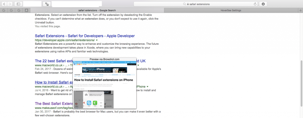 HoverSEE Safari Extension for Mac
