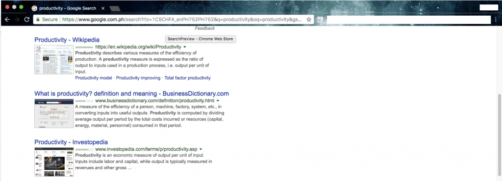 SearchPreview Chrome extension site preview images thumbnails