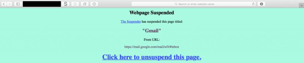 The Suspender Safari Extension suspended webpage