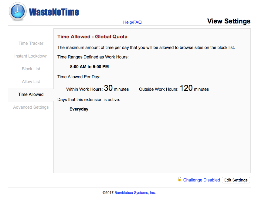 WasteNoTime Browser Extension for Safari - Views Settings screen shot