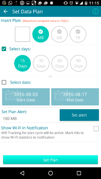 Set Data Plan - Set Plan Alert - Show Wi-Fi in Notification