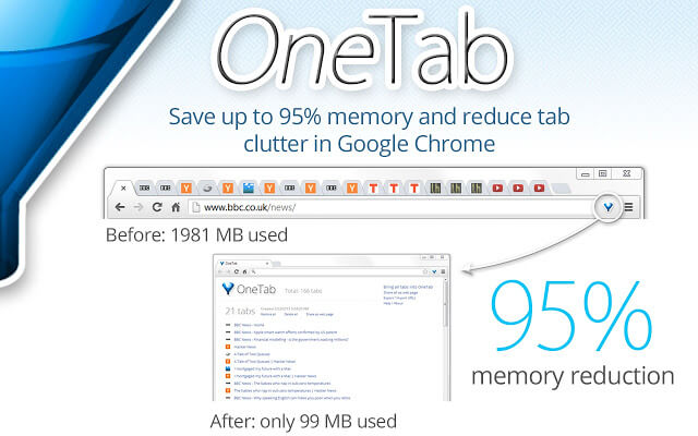 OneTab Productivity Extension - Save up to 95% memory and reduce tab clutter in Google Chrome
