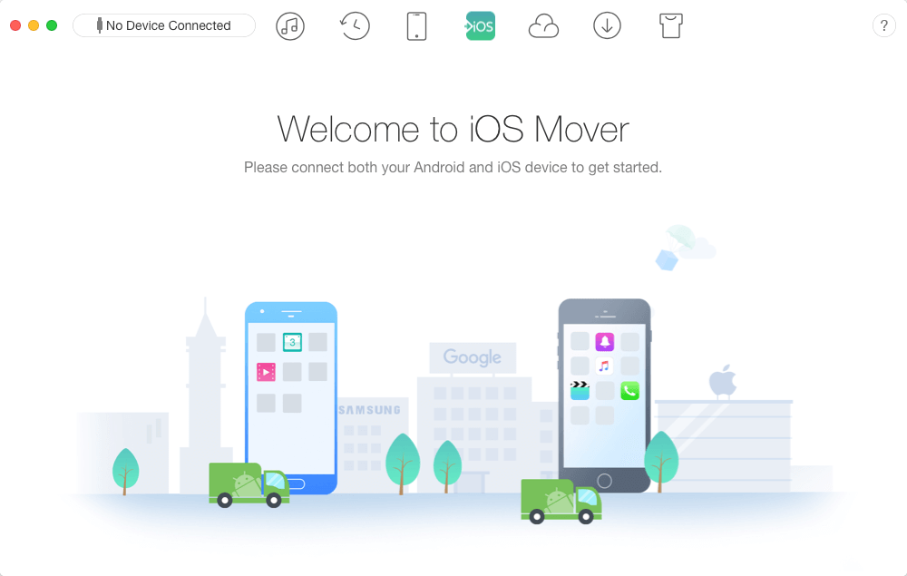 Welcome to iOS Mover. Please connect both your Android and iOS device to get started.