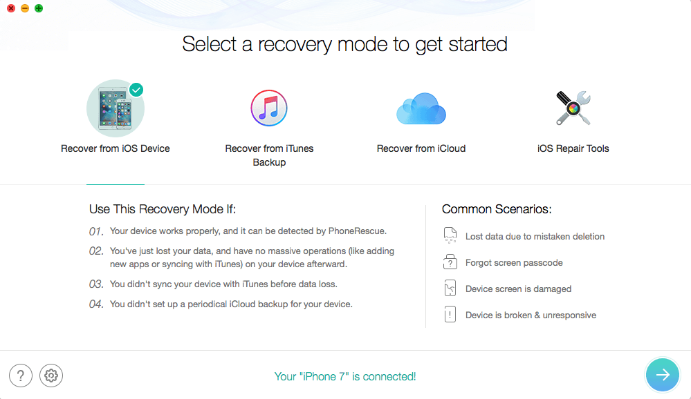 iMobie PhoneRescue iOS Data Recovery Software Recovery Modes: Recover from iOS Device, Recover from iTunes, Recover from iCloud