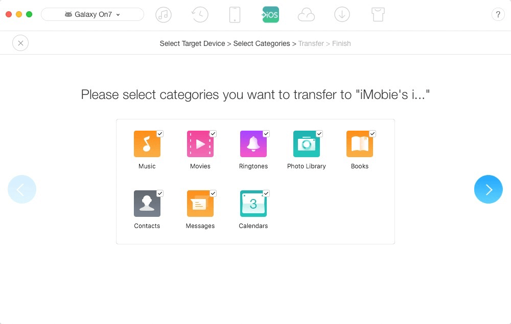 Select file categories on Android phone you want to transfer to iPhone