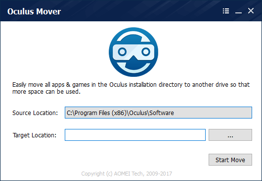 Oculus Mover - Easily move all apps & games in the Oculus installation directory to another drive so that more space can be used.