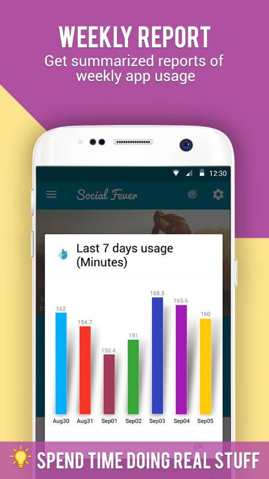 Social Fever App Weekly Report. Get summarized reports of weekly app usage. Spend time doing real stuff.