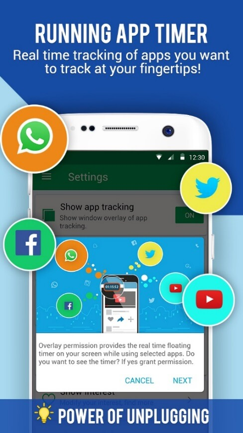 Running App Timer in Social Fever. Real time tracking of apps you want to track at your fingertips! Provides the real time floating timer on your screen while using selected apps.