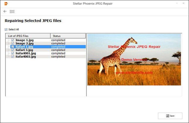 Stellar Pheonix JPEG Repair Software Preview feature for Repaired photos