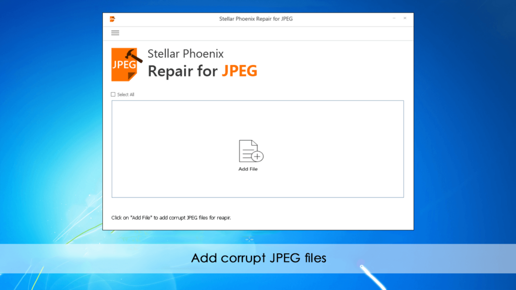 Stellar Phoenix JPEG Repair Software Screenshot - Add corrupt JPEG files