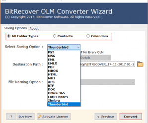 BitRecover Software. OLM to Thunderbird Converter