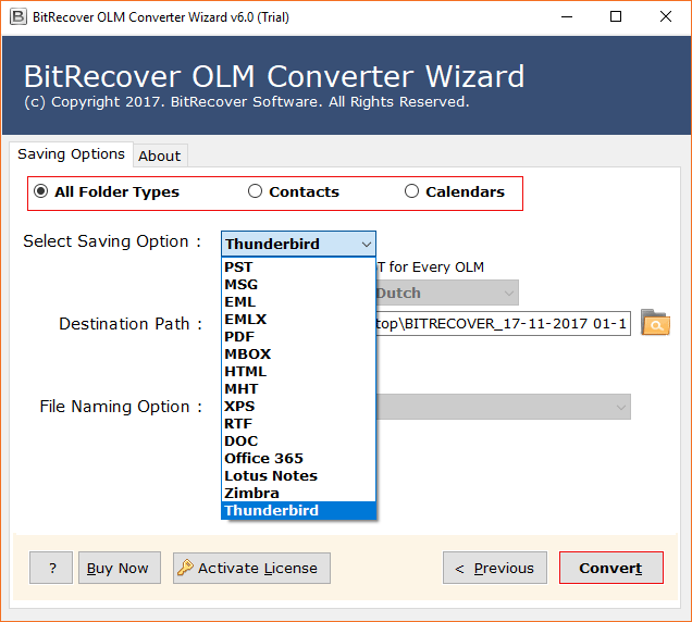 BitRecover Software. OLM to Thunderbird Converter. Import OLM to Thunderbird Directly