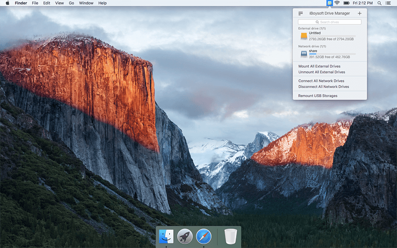 iBoysoft Drive Manager can help mount, unmount or remount external drive and network drive with a single click, support to read/write to NTFS drive on Mac