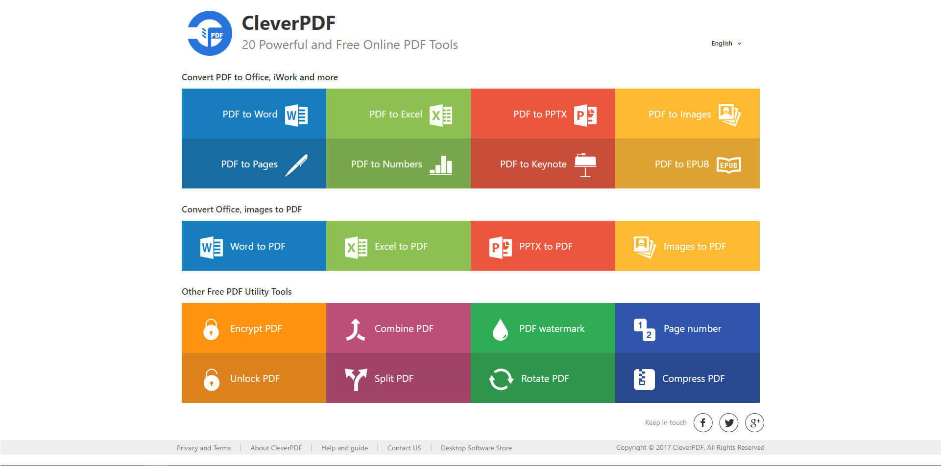 CleverPDF homepage - 20 Powerful and Free Online PDF Tools