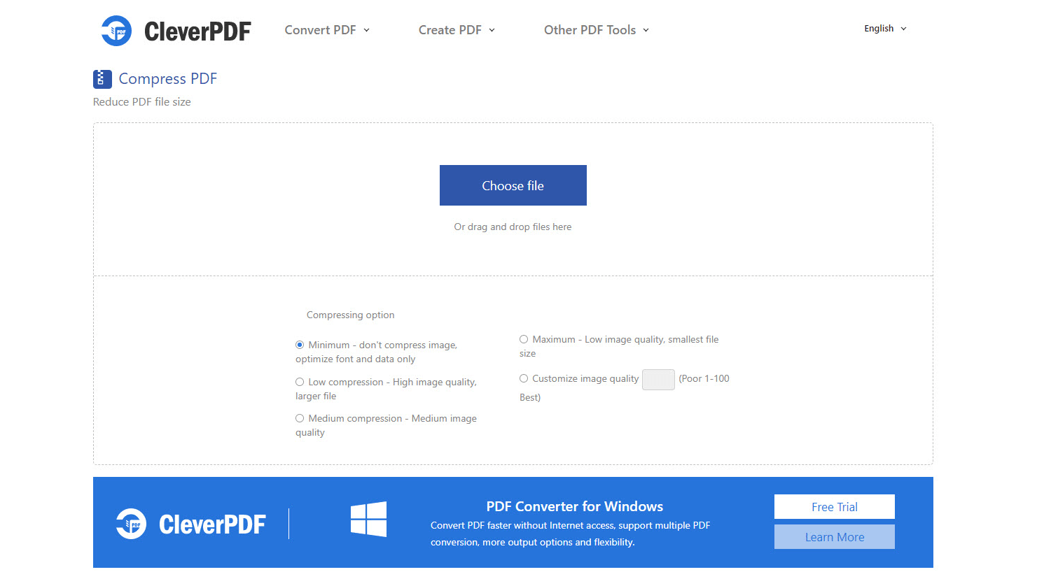 Compress PDF or Reduce PDF file size Step 1 Choose a PDF file and upload