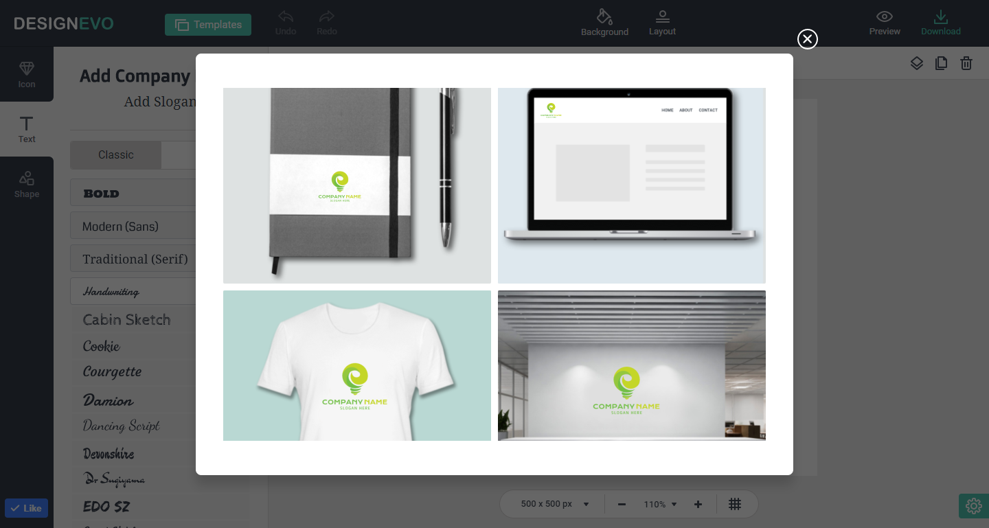 DesignEvo Logo Design Tool Shows how your created logo will look like when it is used on the business card, T-shirt, wall, website and book cover