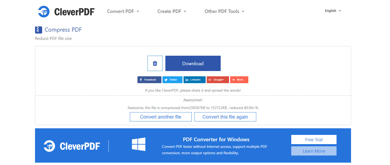 Compress PDF or Reduce PDF File Size - Step 3 - Download Output PDF file