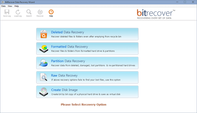 BitRecover Hard Drive Data Recovery Software Recovery Options: Deleted Data Recovery, Formatted Data Recovery, Partition Data Recovery, Raw Data Recovery and Create Disk Image