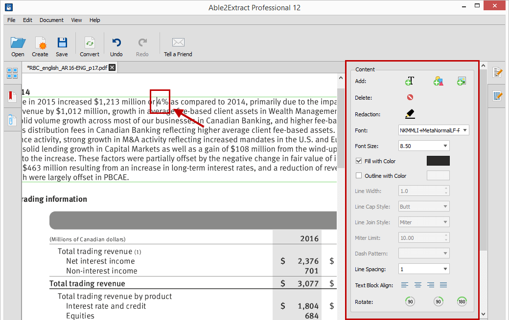 Edit PDF Text from Content section