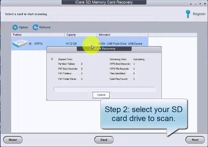 iCare SD Memory Card Recovery - Step 2: Select your SD card drive to scan