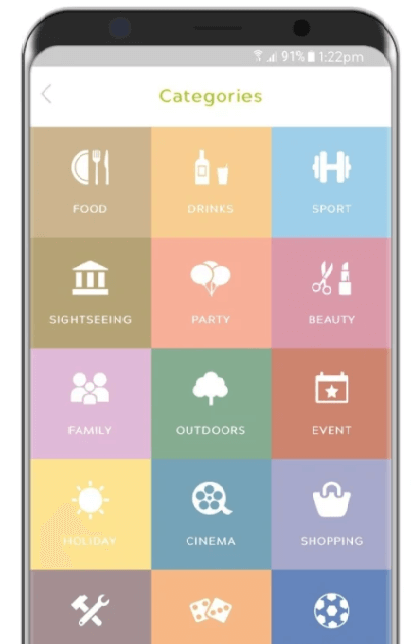 Pal App Categories: Food, Drinks, Sport, Sightseeing, Party, Beauty, Family, Outdoors, Event, Holiday, Cinema, Shopping, Craft, Games and Watch Sports