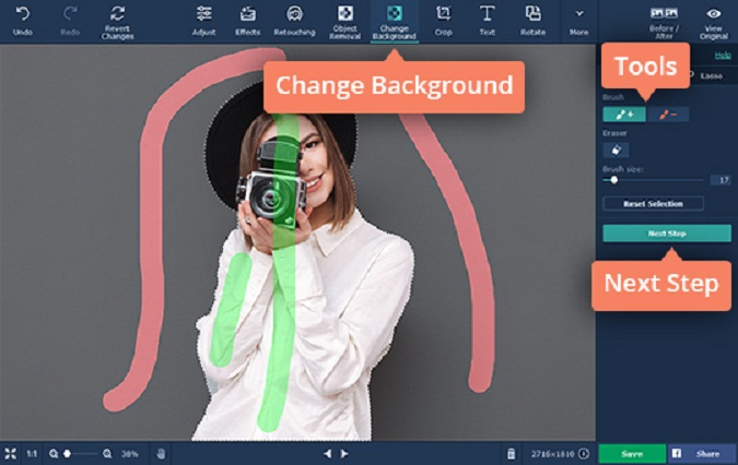 Making an Image Background Transparent Using Movavi Photo Editor. Change Background Using Foreground Brush and Background Brush.