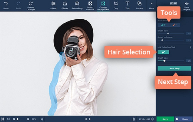 Making an Image Background Transparent Using Movavi Photo Editor. Hair Selection Tool.
