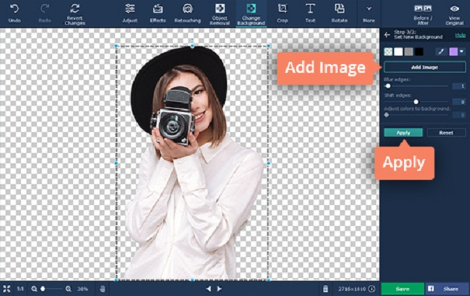 Making an Image Background Transparent Using Movavi Photo Editor. Add Image option allows you to use a different image as the background.