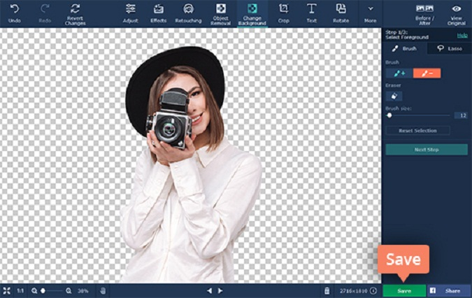 Making an Image Background Transparent Using Movavi Photo Editor. Save your image with a transparent background.