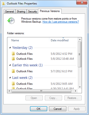Outlook File Properties - Restore Previous Versions