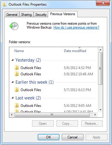 Outlook File Properties - Restore Previous Versions