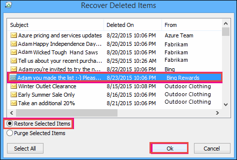 Recover Deleted Items in Outlook Account. Restore Selected Items.