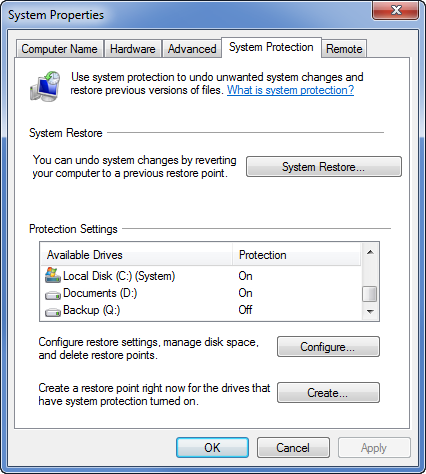 System Properties >> System Protection Settings