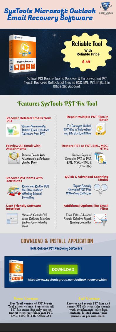 Recover and Fix corrupted PST files using SysTools Microsoft Outlook Email Recovery Software. Features of SysTools PST Fix Tool