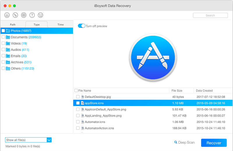 iBoysoft Data Recovery for Mac Quick Scan Results showing lost appstore.icons file