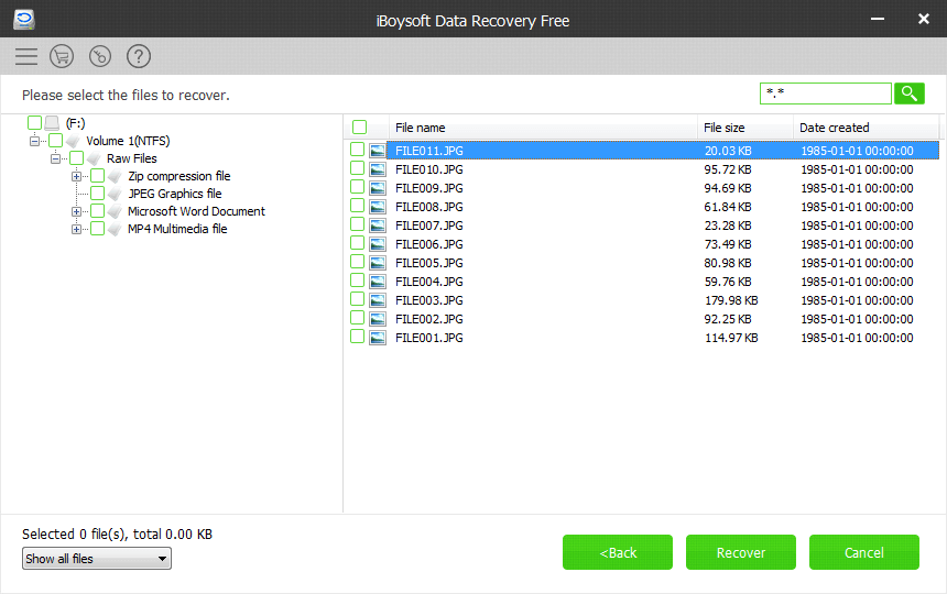 iBoysoft Data Recovery Free Quick Scan Results