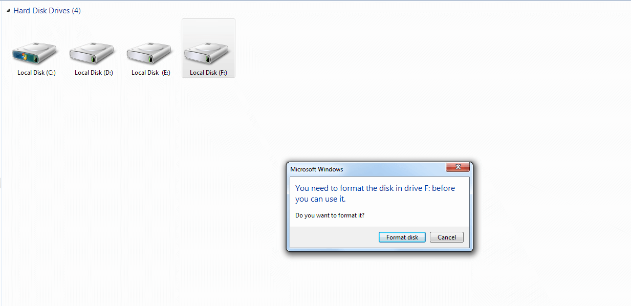 Inaccessible F drive error message - You need to format the disk in drive F: before you can use it.