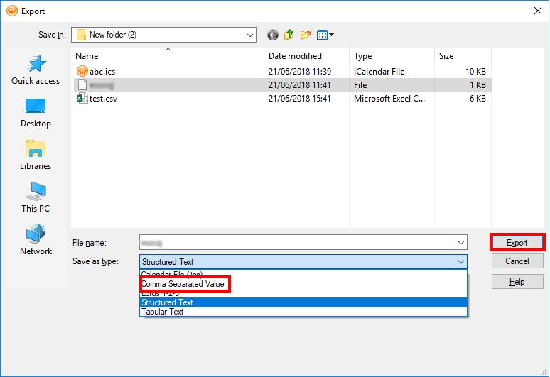 Select CSV format
