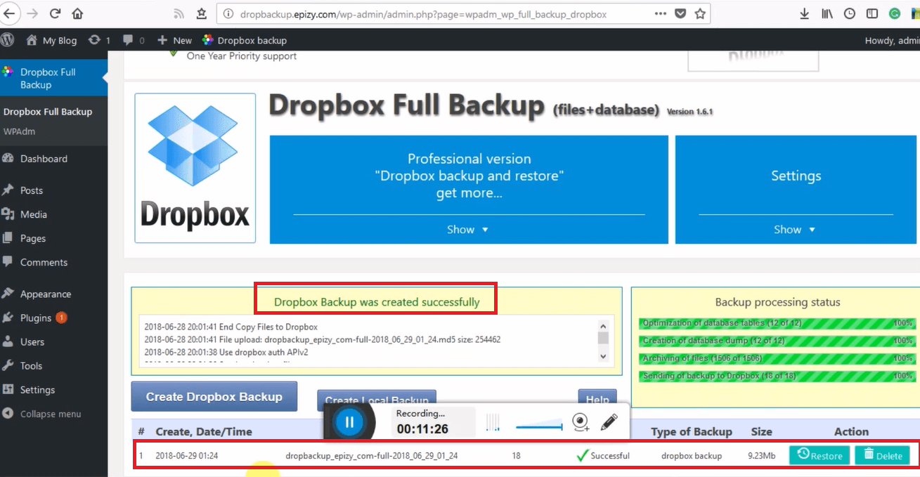 Image 6: Dropbox Backup was created successfully