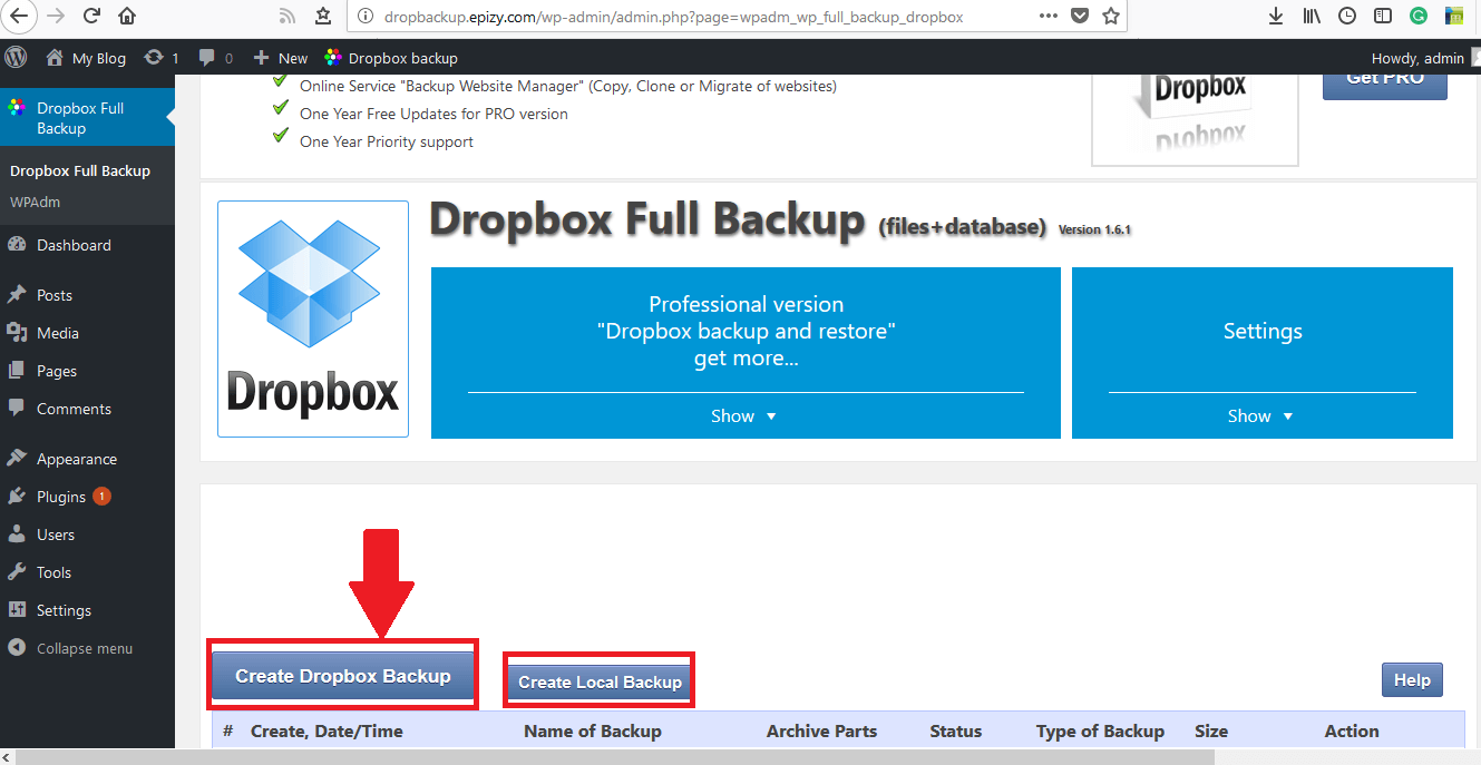 To Backup WordPress site to Dropbox click on Create Dropbox Backup
