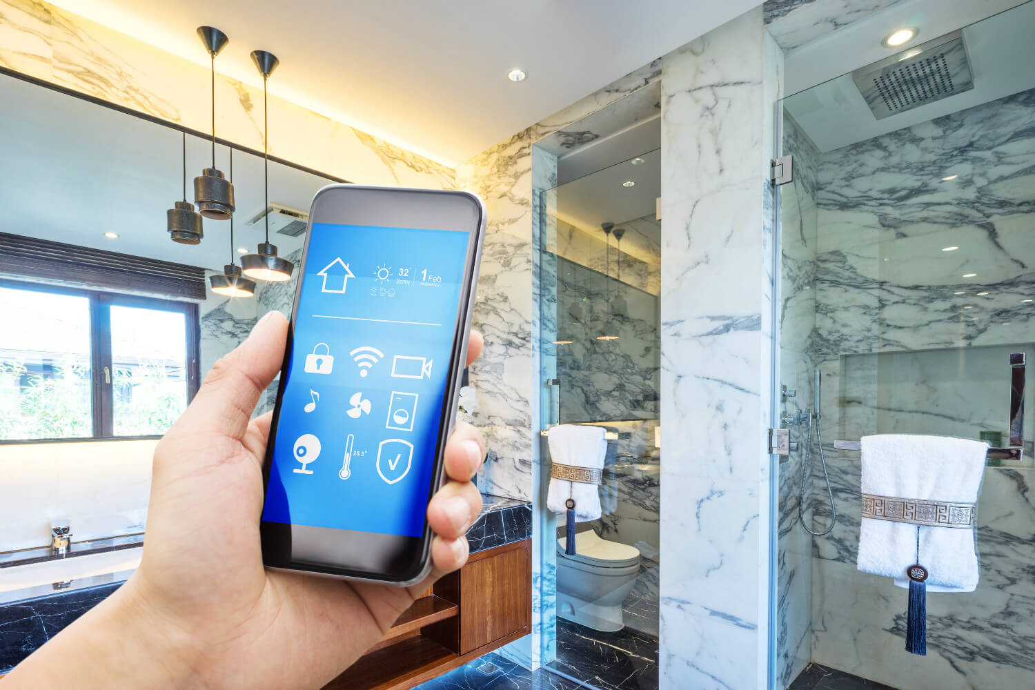 Digital Showers with Digital Shower Controls. Control the Shower Using Your Smartphone