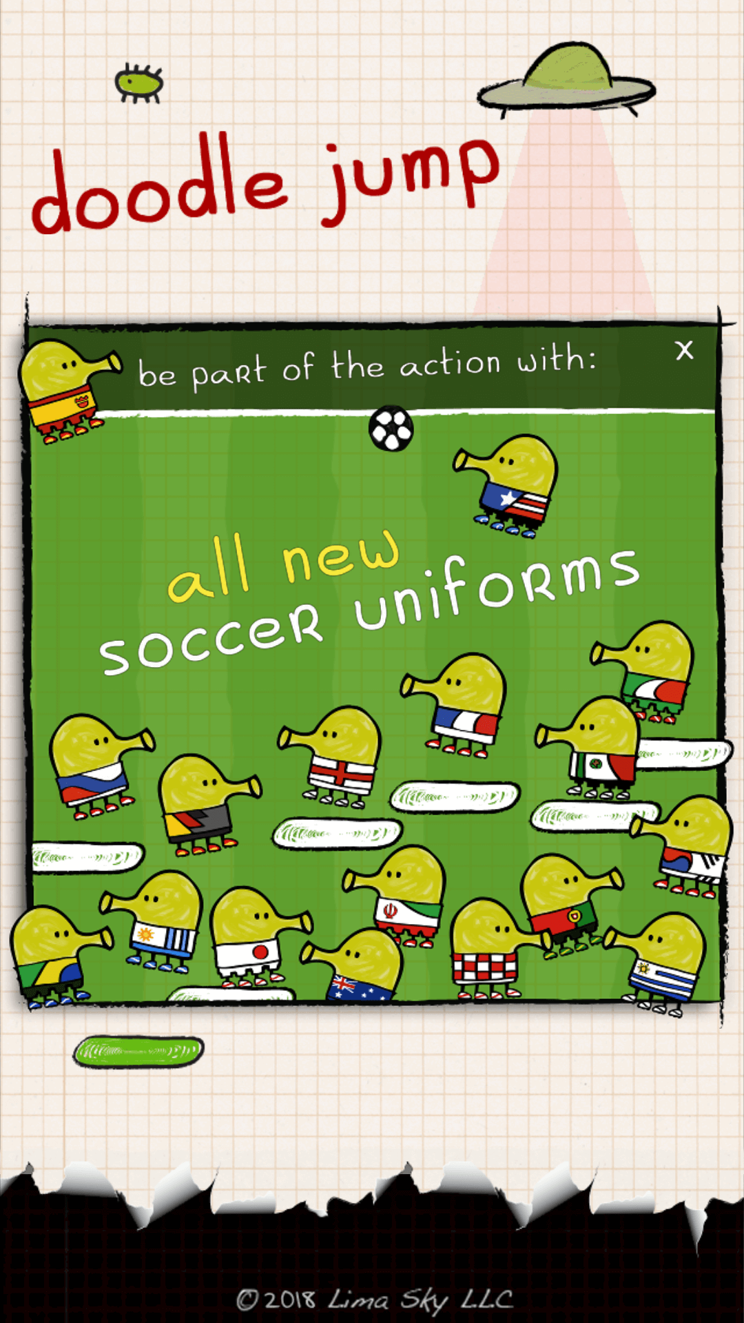 Screenshot of Doodle Jump Game on soccer theme with soccer uniforms